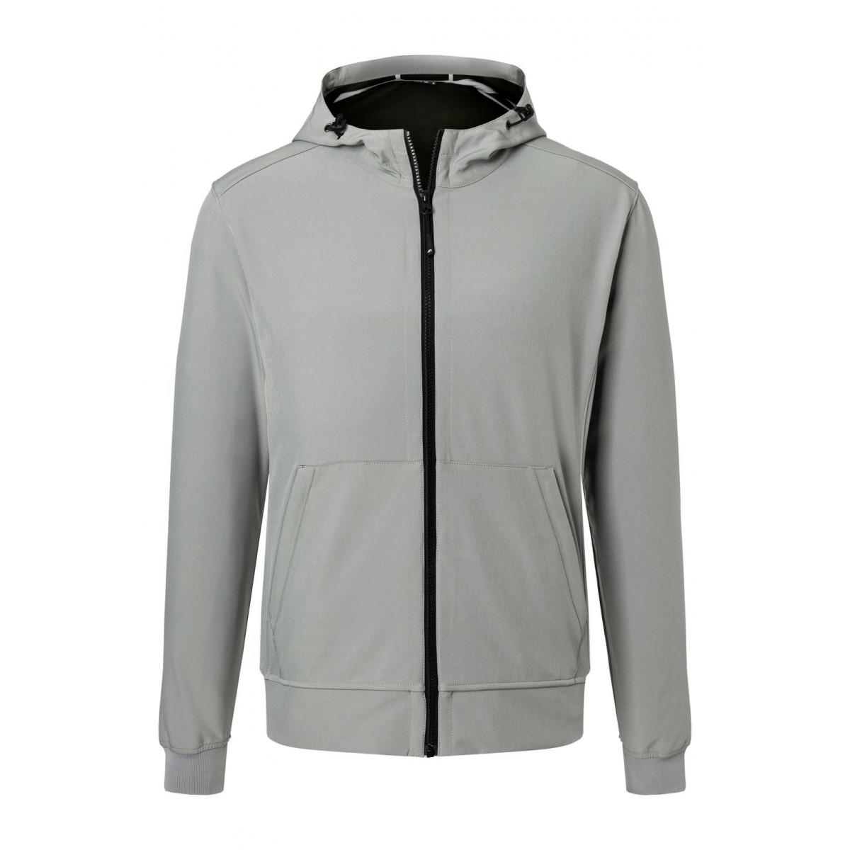 Куртка мужская JN1146 Mens Hooded Softshell Jacket - Светло-серый/Черный
