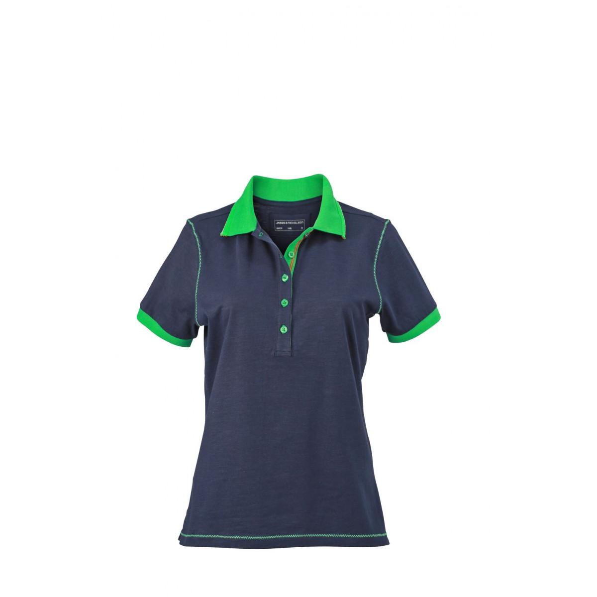 Рубашка поло женская JN979 Ladies Urban Polo - Темно-синий/Насыщенный зеленый