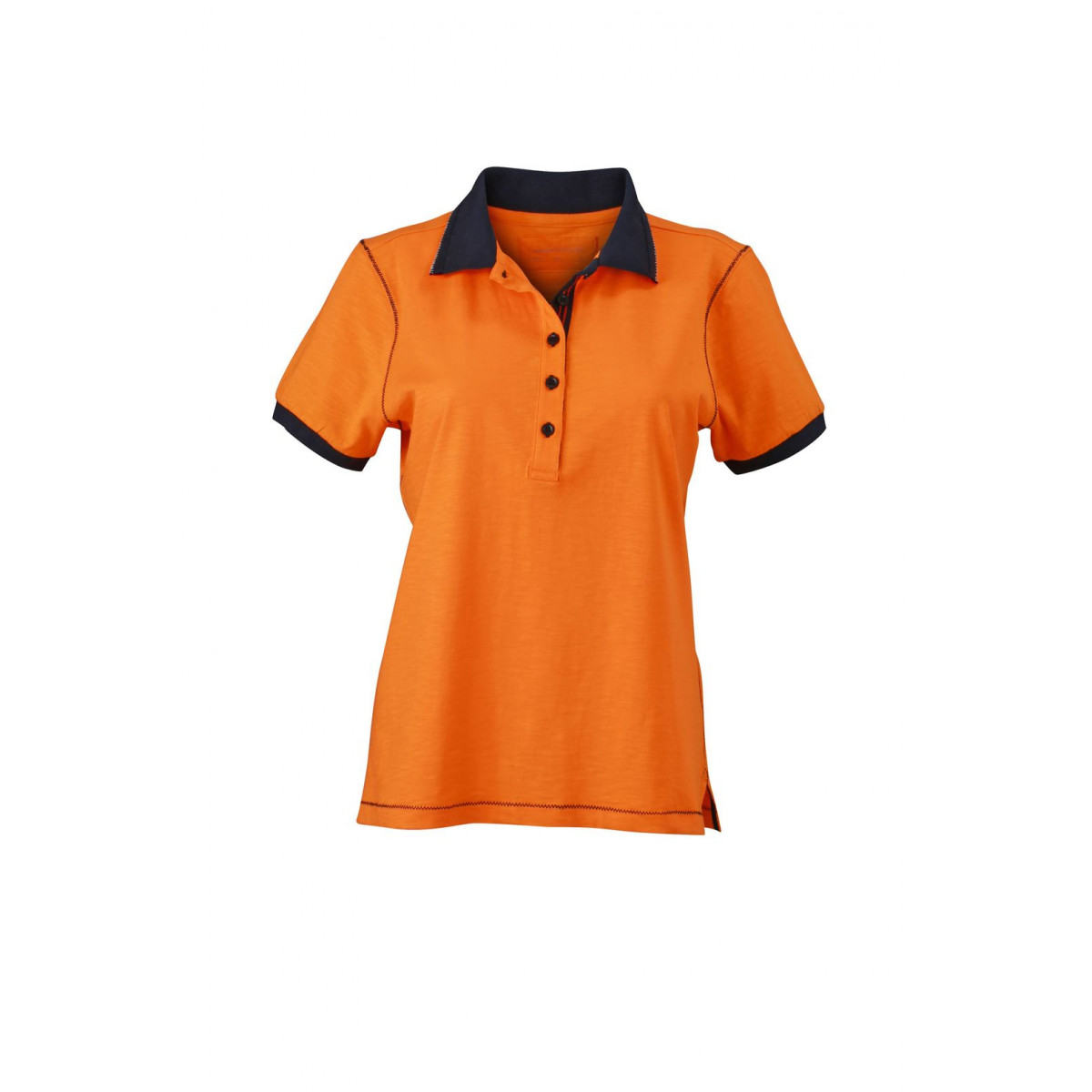 Рубашка поло женская JN979 Ladies Urban Polo - Оранжевый/Темно-синий