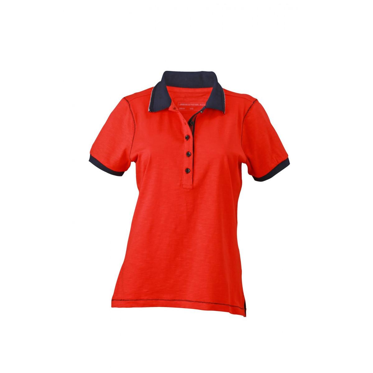 Рубашка поло женская JN979 Ladies Urban Polo - Томатный/Темно-синий