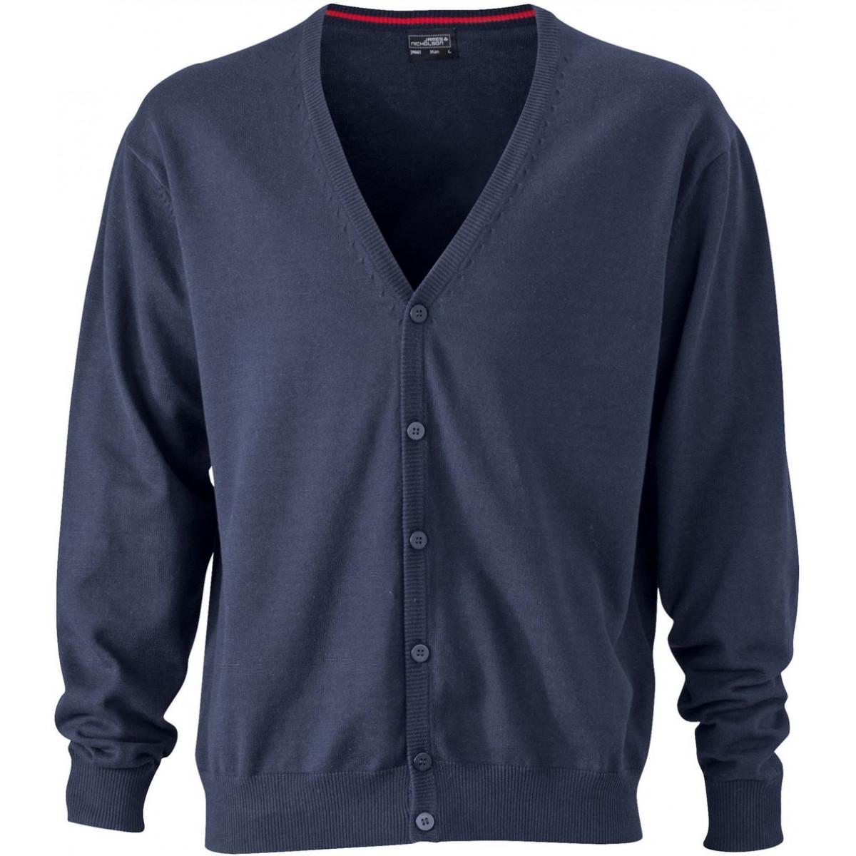 Кардиган мужской JN661 Mens V-Neck Cardigan - Темно-синий