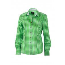 Рубашка женская JN637 Ladies' Traditional Shirt - Насыщенный зеленый/Белый