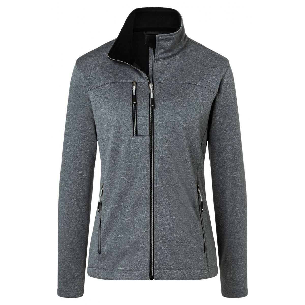 Куртка женская JN1147 Ladies Softshell Jacket - Темно-серый меланж/Черный