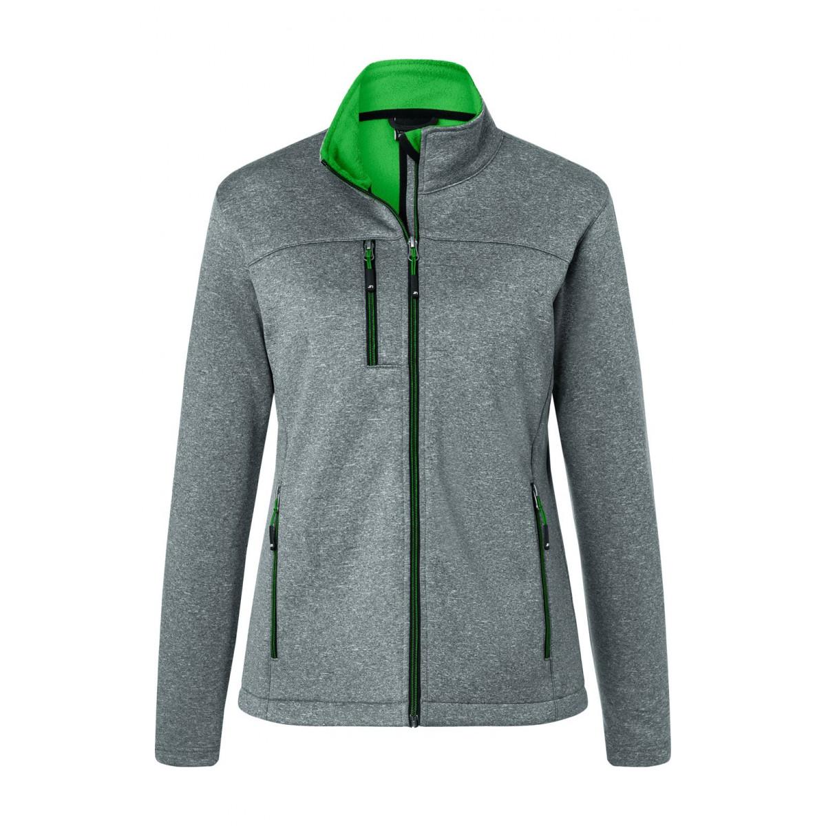 Куртка женская JN1147 Ladies Softshell Jacket - Темно-серый меланж/Насыщенный зеленый