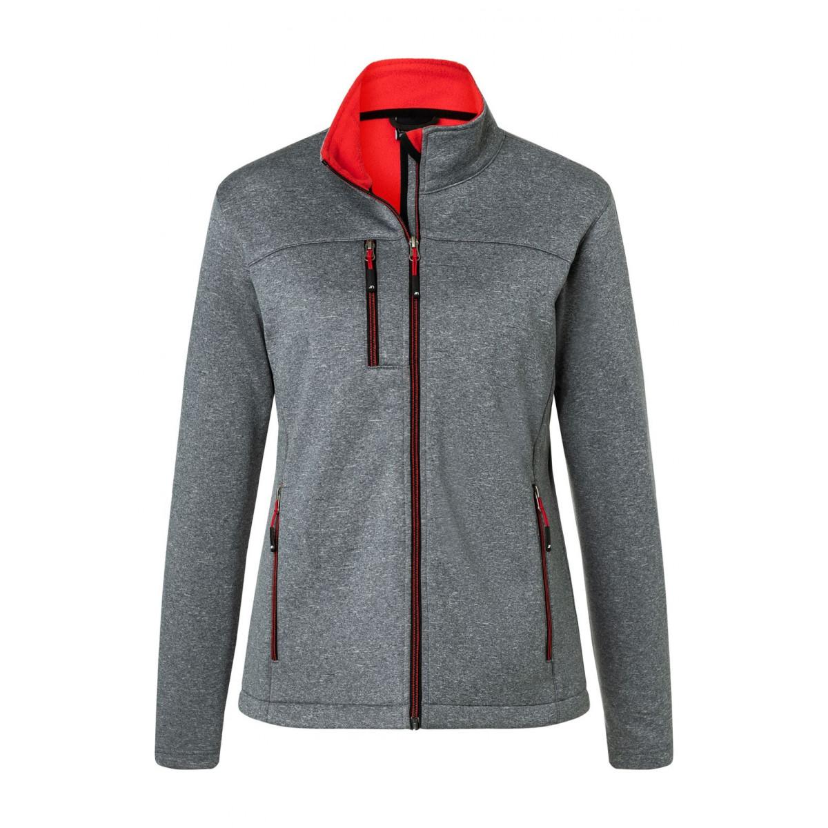 Куртка женская JN1147 Ladies Softshell Jacket - Темно-серый меланж/Красный