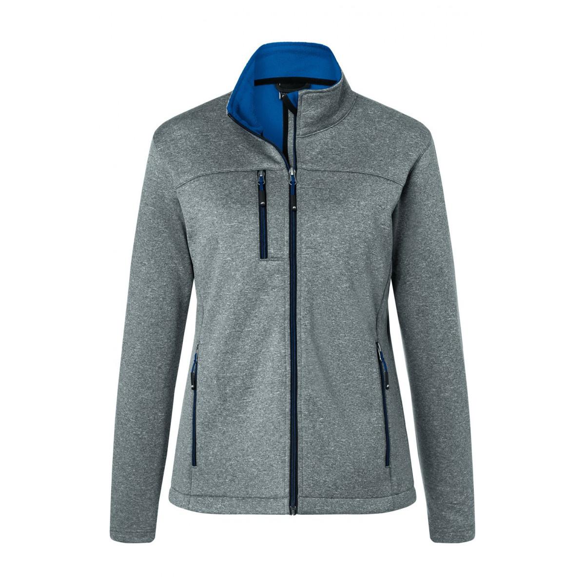Куртка женская JN1147 Ladies Softshell Jacket - Темно-серый меланж/Ярко-синий