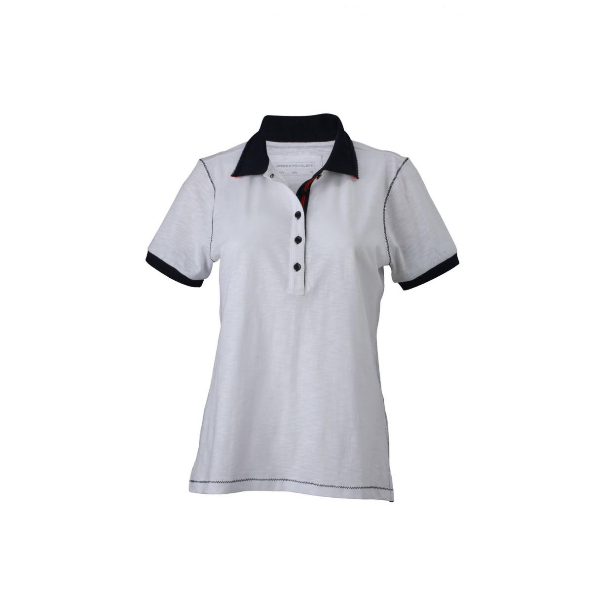 Рубашка поло женская JN979 Ladies Urban Polo - Белый/Темно-синий