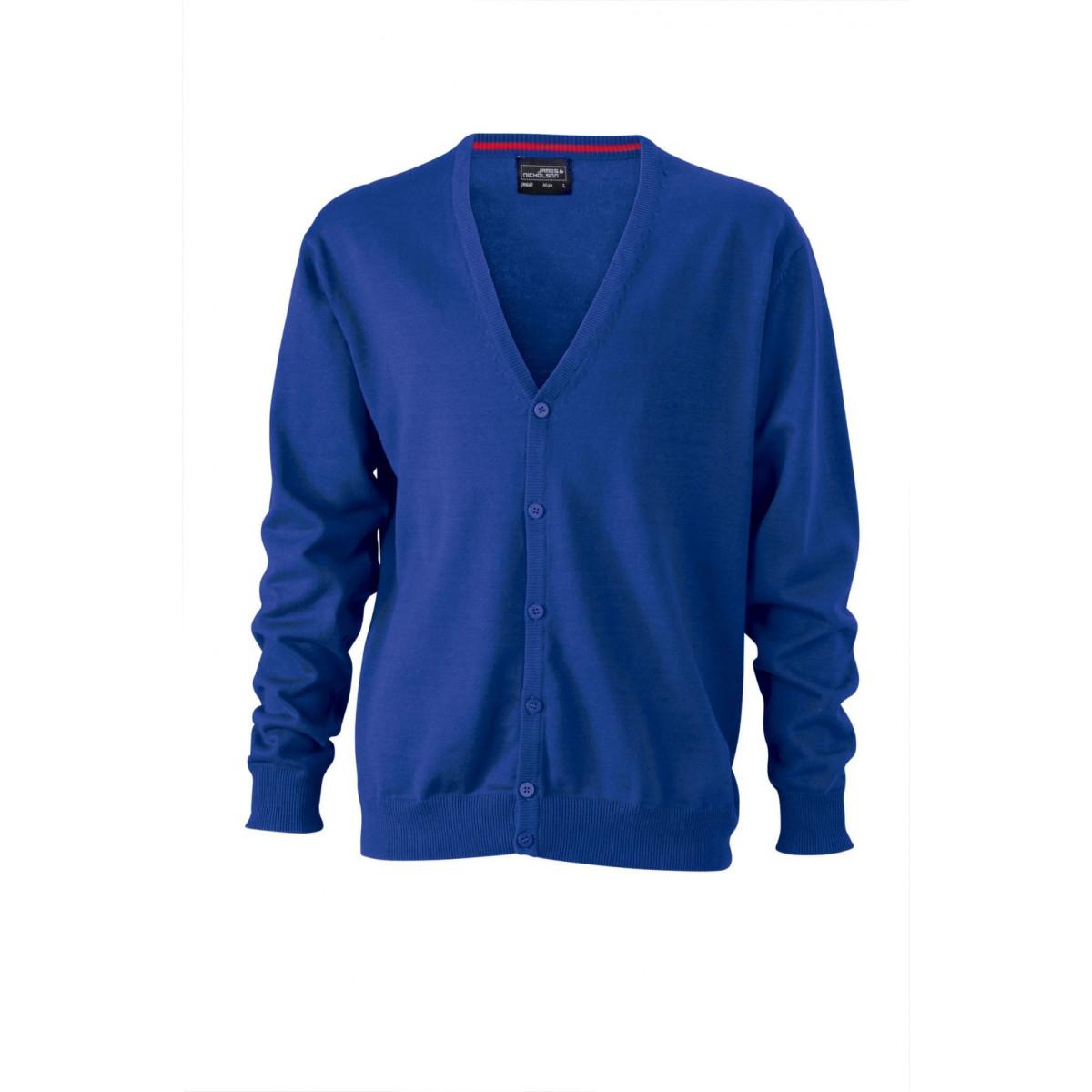 Кардиган мужской JN661 Mens V-Neck Cardigan - Ярко-синий