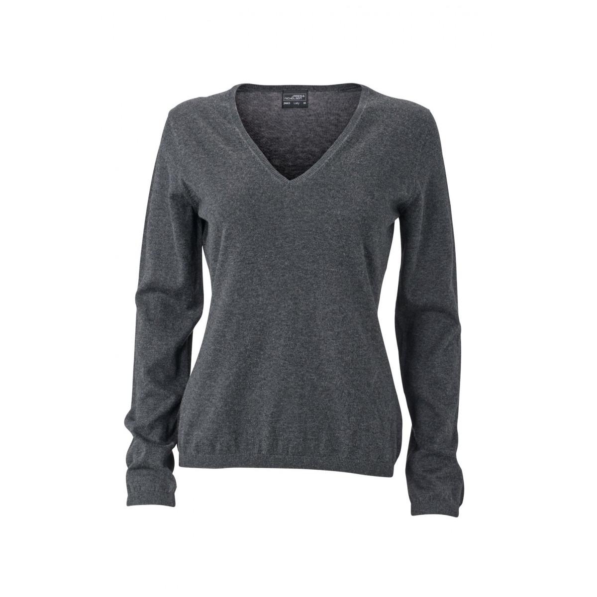 Пуловер женский JN663 Ladies Pullover - Темно-серый меланж