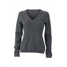 Пуловер женский JN663 Ladies' Pullover - Темно-серый меланж