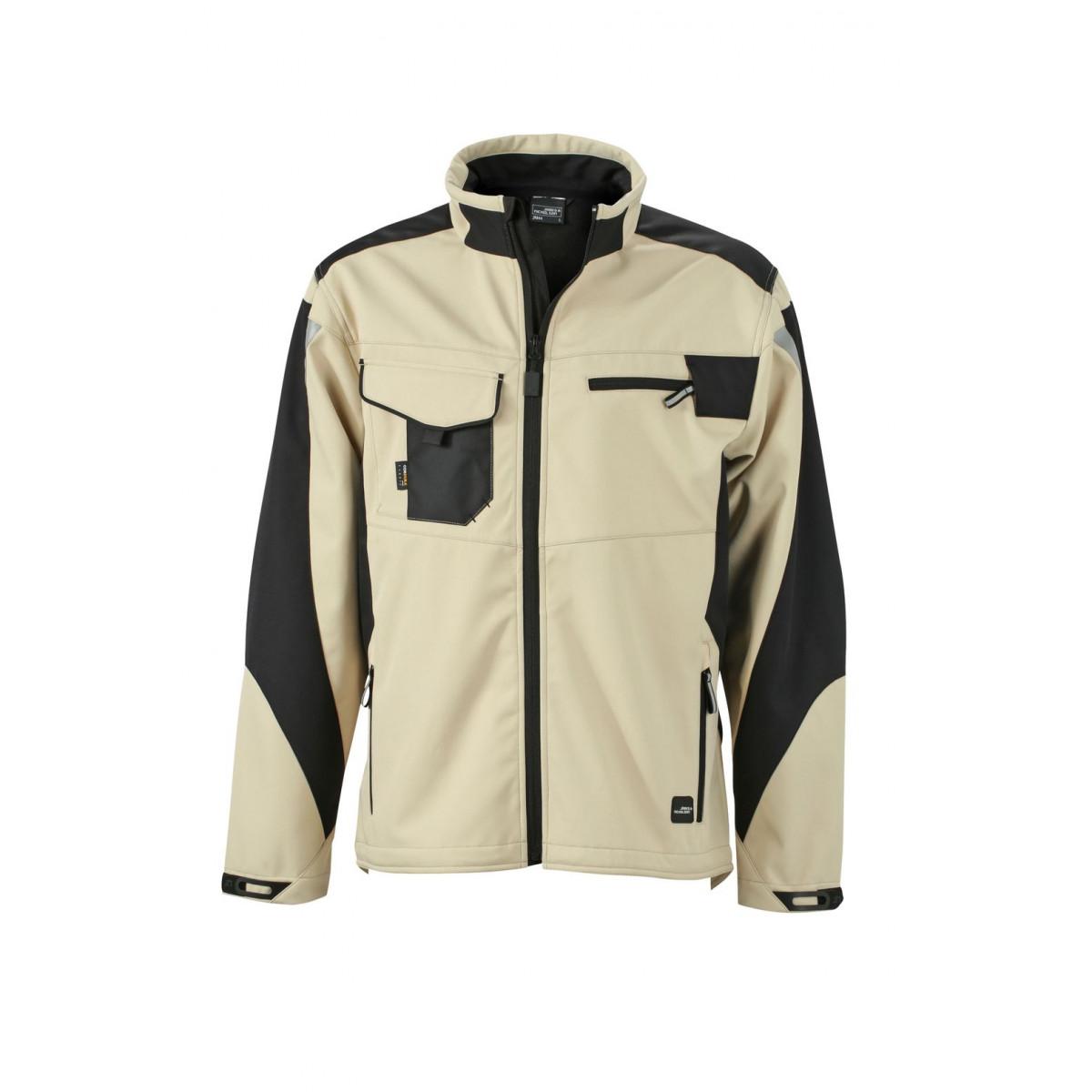 Куртка мужская JN844 Workwear Softshell Jacket - Бежевый/Черный
