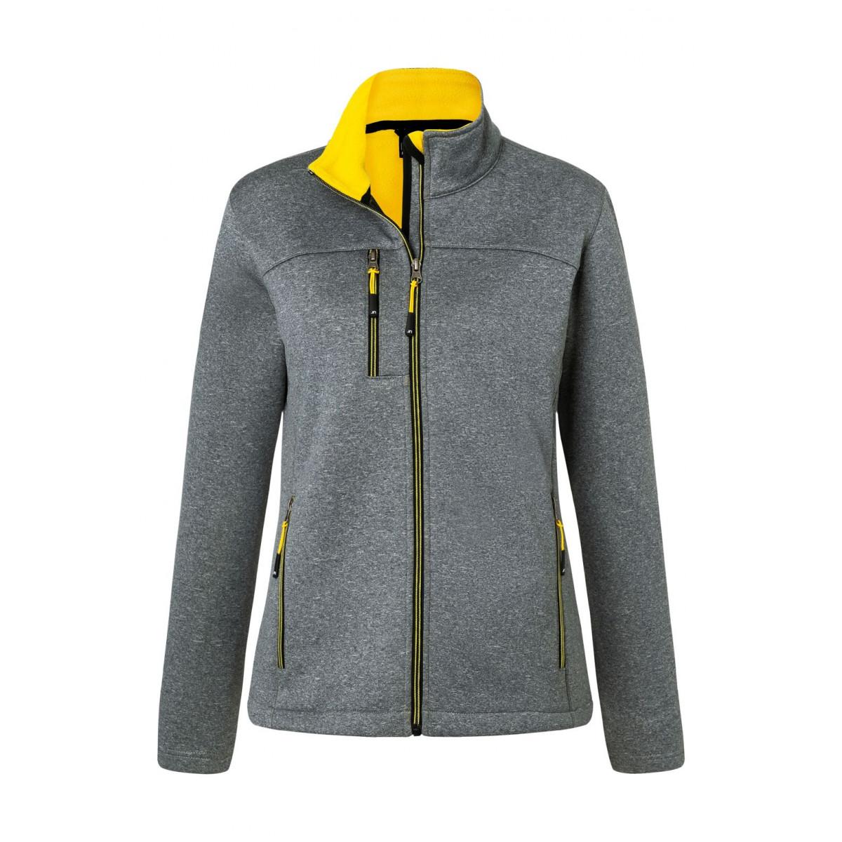 Куртка женская JN1147 Ladies Softshell Jacket - Темно-серый меланж/Желтый