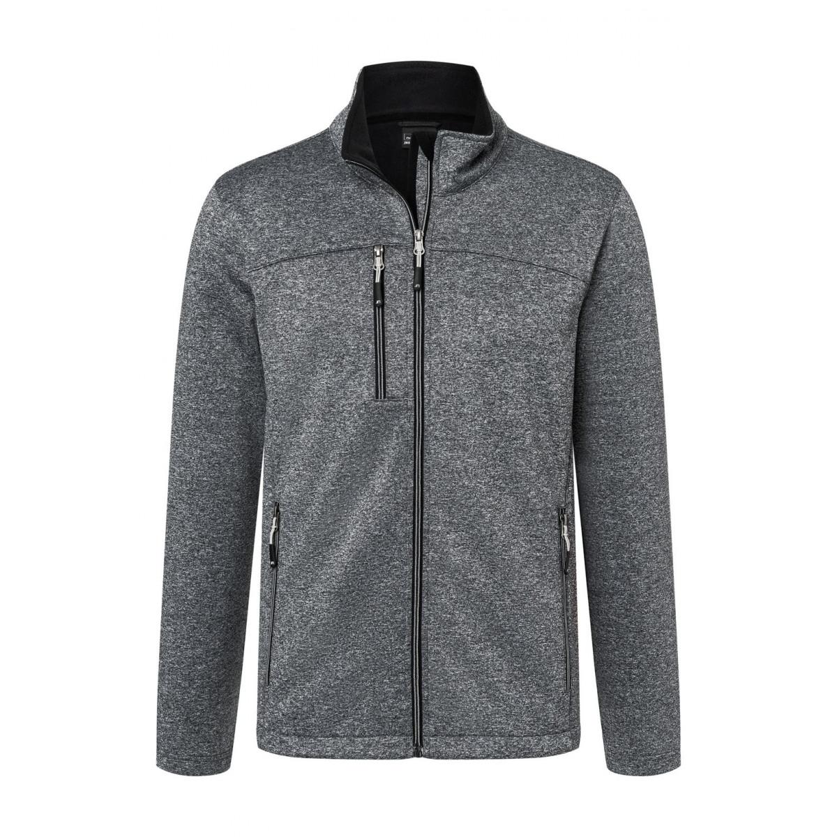 Куртка мужская JN1148 Mens Softshell Jacket - Темно-серый меланж/Черный