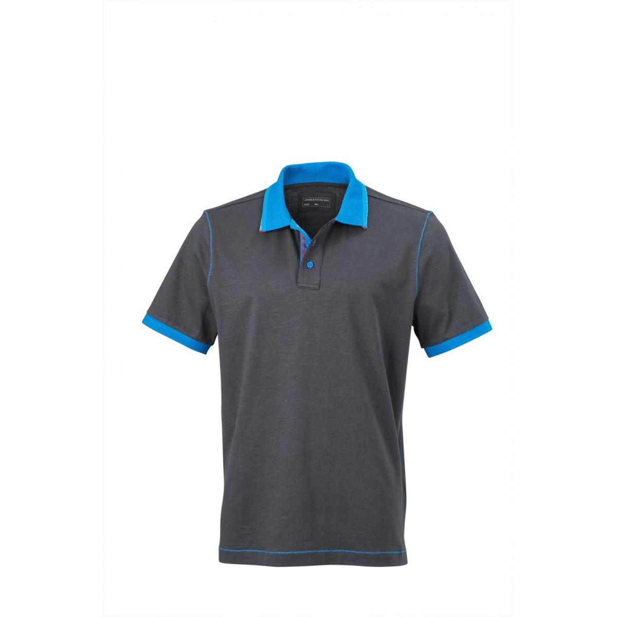 Рубашка поло мужская JN980 Mens Urban Polo - Темно-серый/Ярко-синий