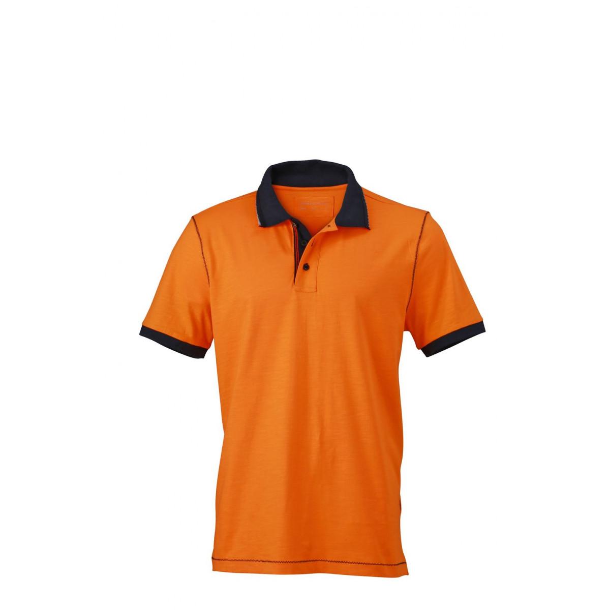 Рубашка поло мужская JN980 Mens Urban Polo - Оранжевый/Темно-синий