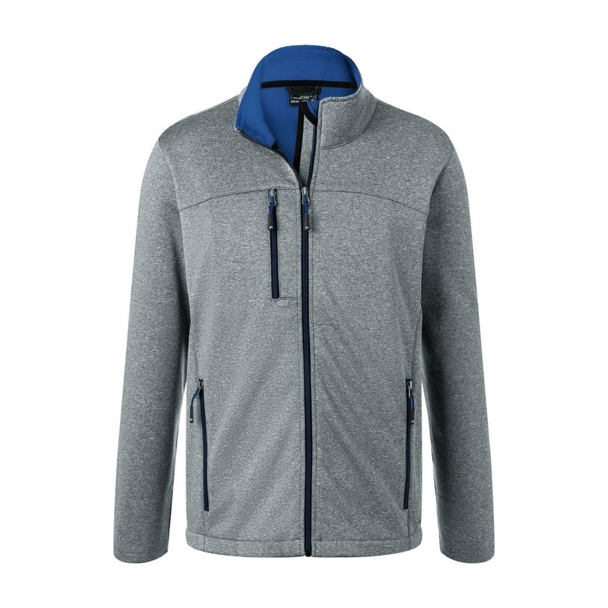 Куртка мужская JN1148 Mens Softshell Jacket - Темно-серый меланж/Ярко-синий