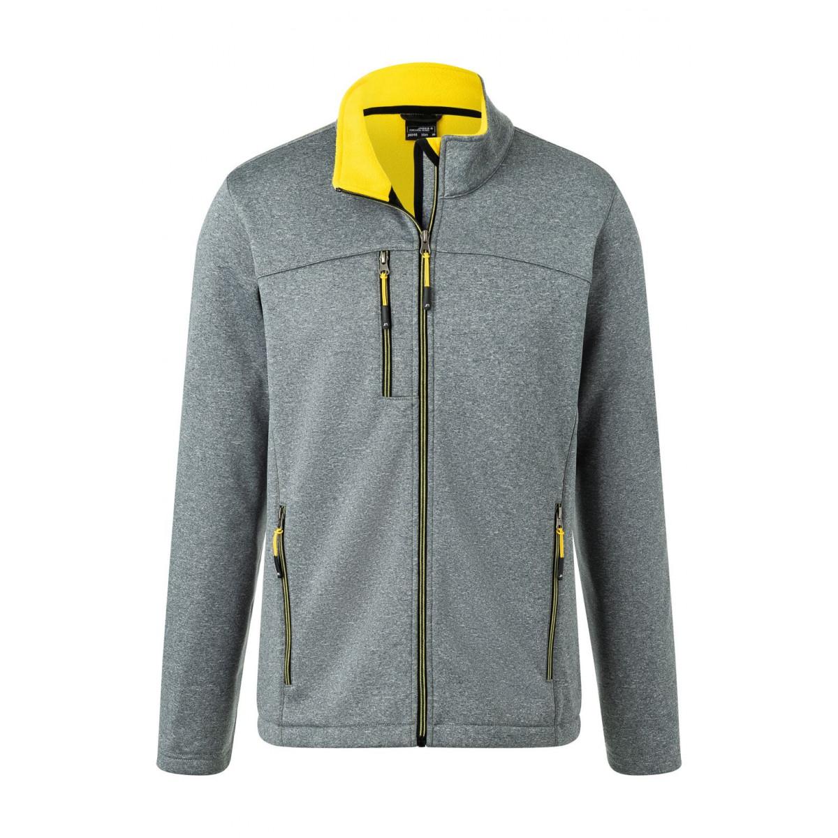 Куртка мужская JN1148 Mens Softshell Jacket - Темно-серый меланж/Желтый