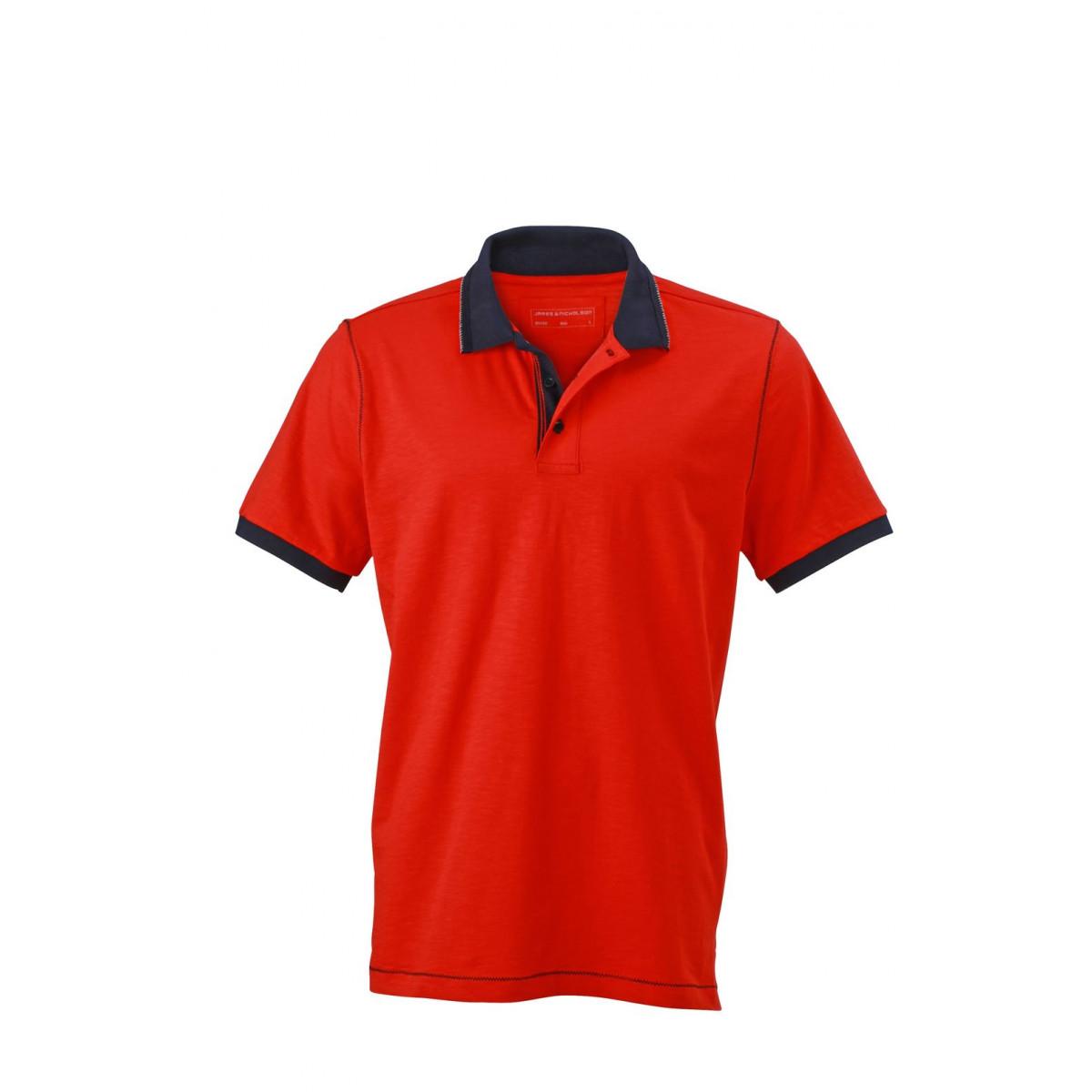 Рубашка поло мужская JN980 Mens Urban Polo - Томатный/Темно-синий