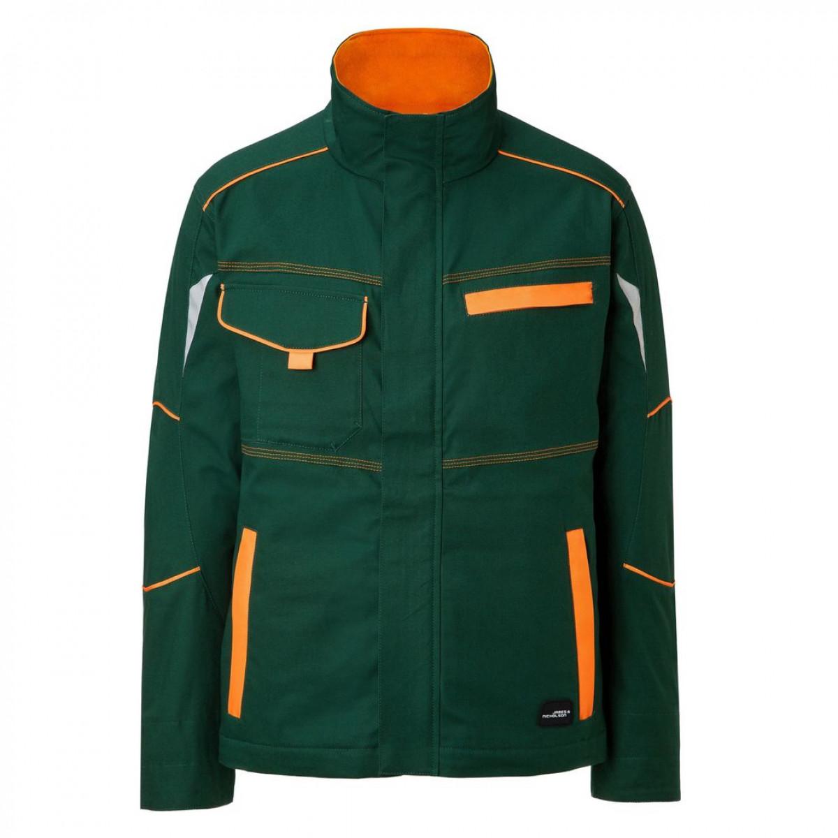 Куртка мужская JN849 Workwear Jacket - Темно-зеленый/Оранжевый