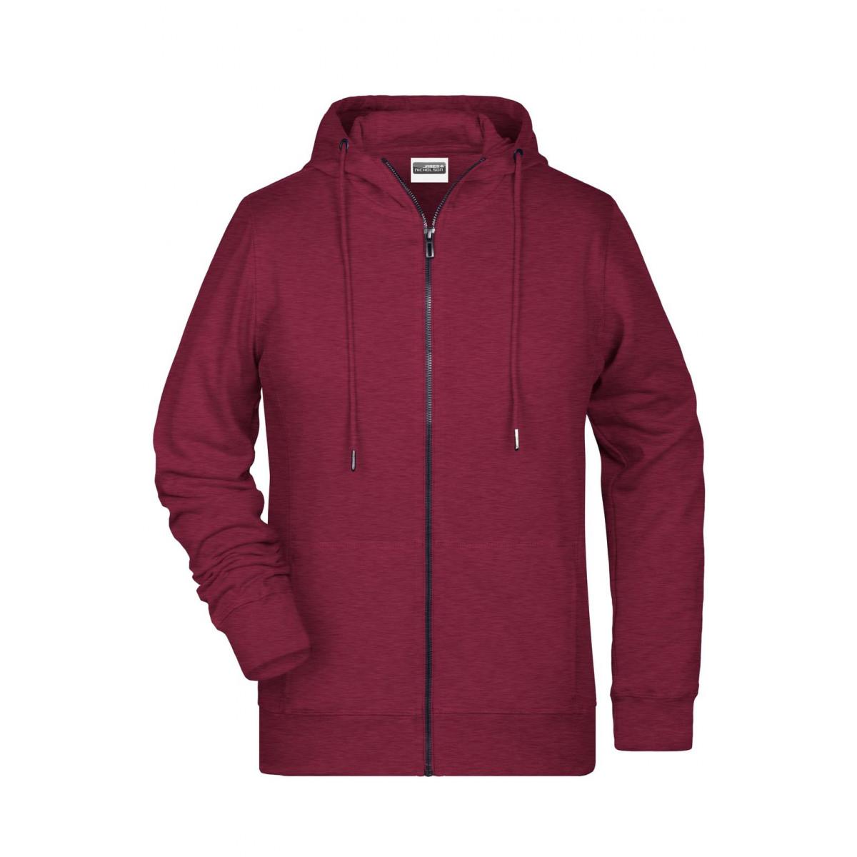 Толстовка женская 8025 Ladies Zip Hoody - Бордовый меланж