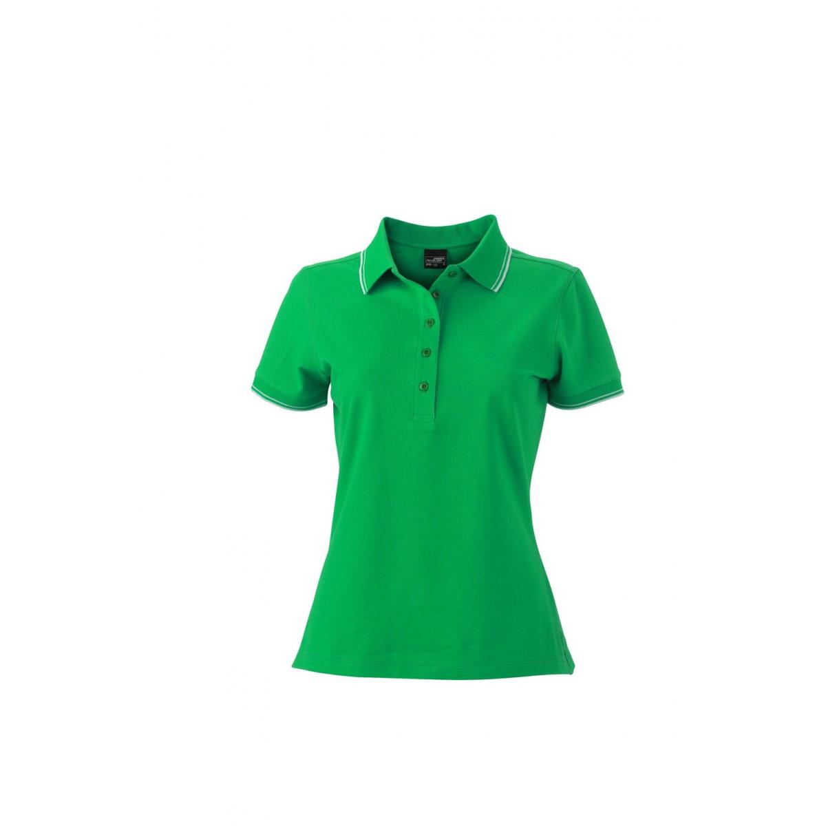 Рубашка поло женская JN985 Ladies Polo - Насыщенный зеленый/Белый
