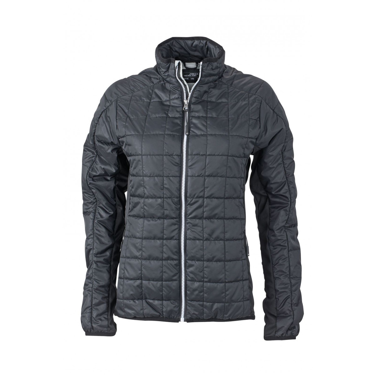 Куртка женская JN1115 Ladies Hybrid Jacket - Черный/Серебряный
