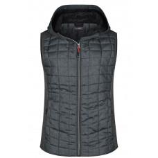 Жилет женский JN767 Ladies' Knitted Hybrid Vest - Серый меланж/Темно-серый меланж