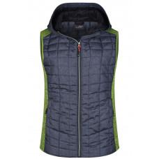 Жилет женский JN767 Ladies' Knitted Hybrid Vest - Насыщенный зеленый меланж/Темно-серый меланж