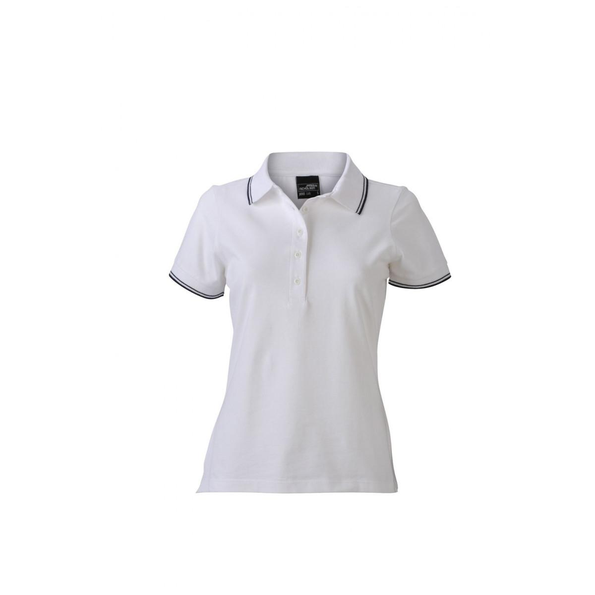 Рубашка поло женская JN985 Ladies Polo - Белый/Темно-синий
