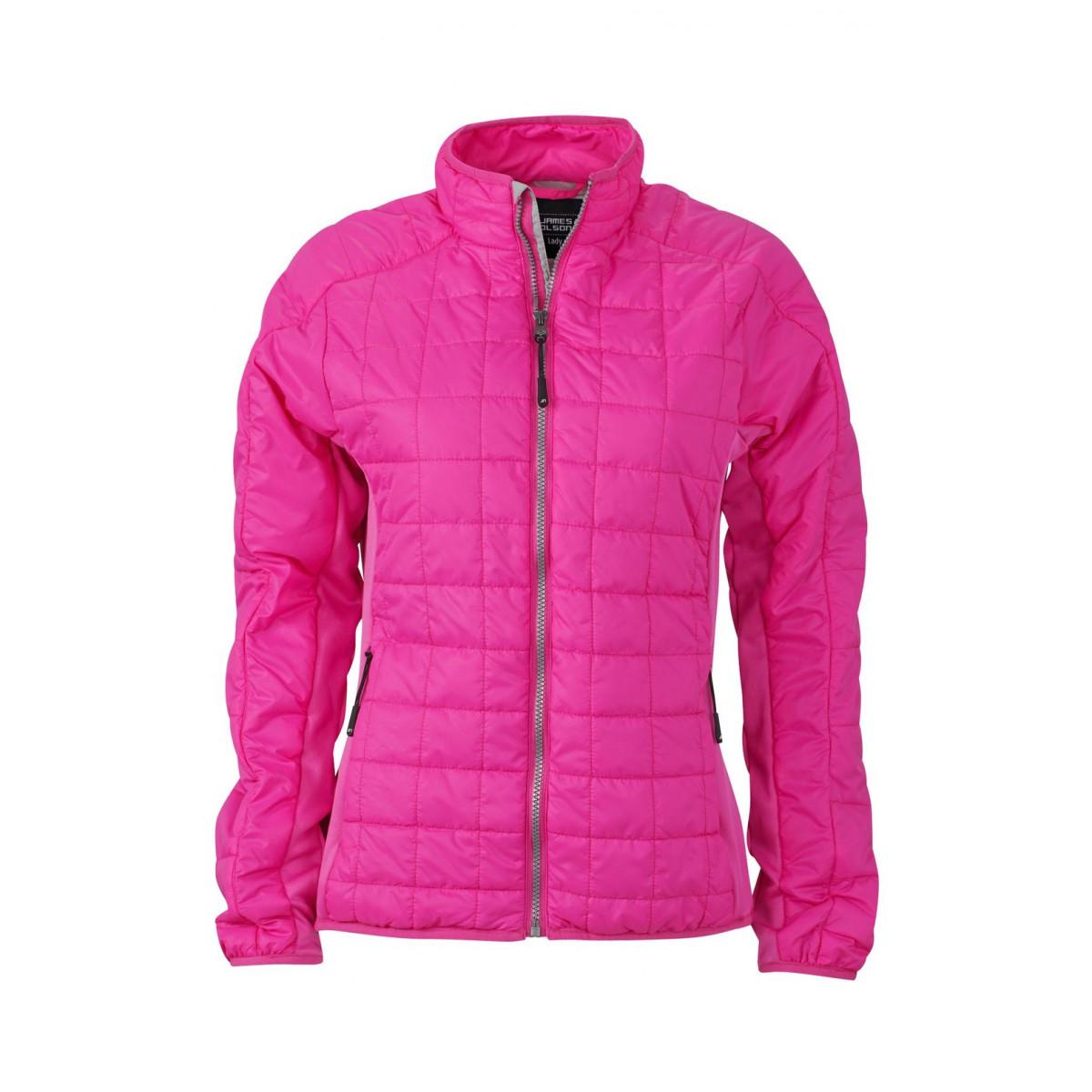 Куртка женская JN1115 Ladies Hybrid Jacket - Розовый/Серебряный