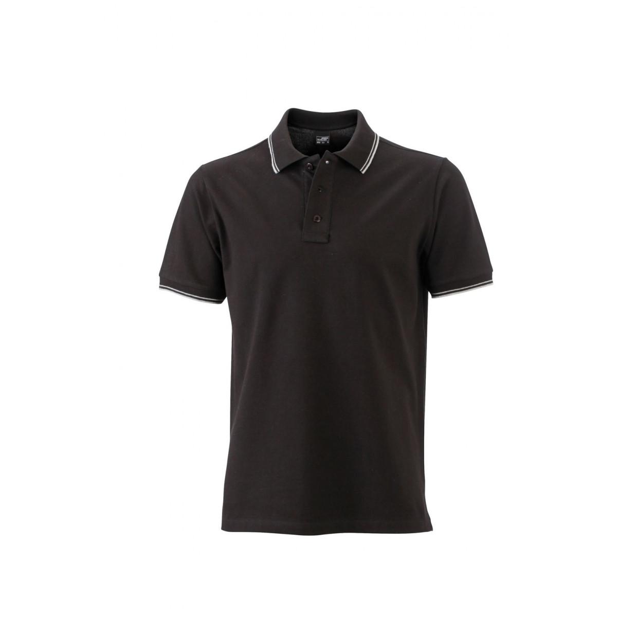 Рубашка поло мужская JN986 Mens Polo - Черный/Белый