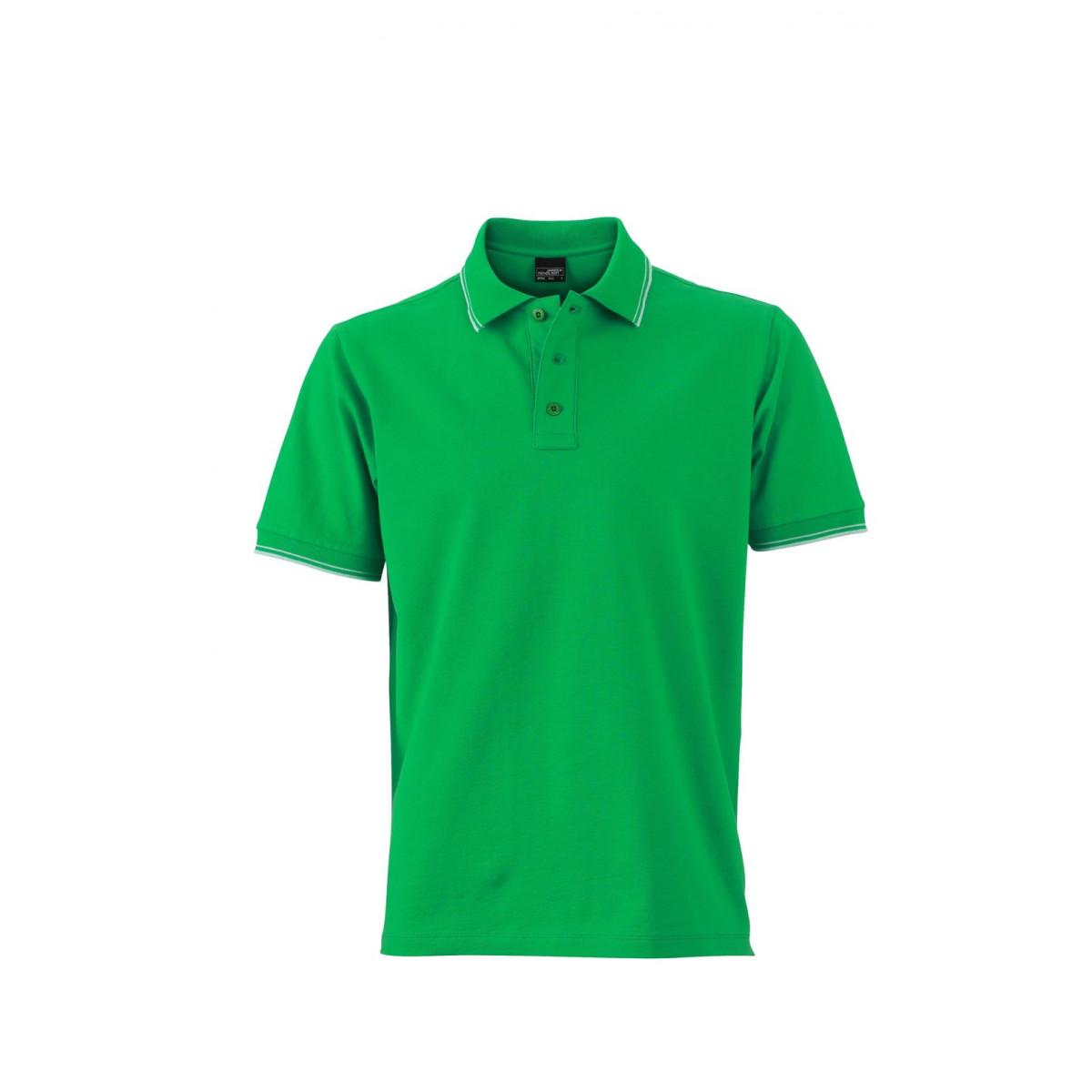 Рубашка поло мужская JN986 Mens Polo - Насыщенный зеленый/Белый