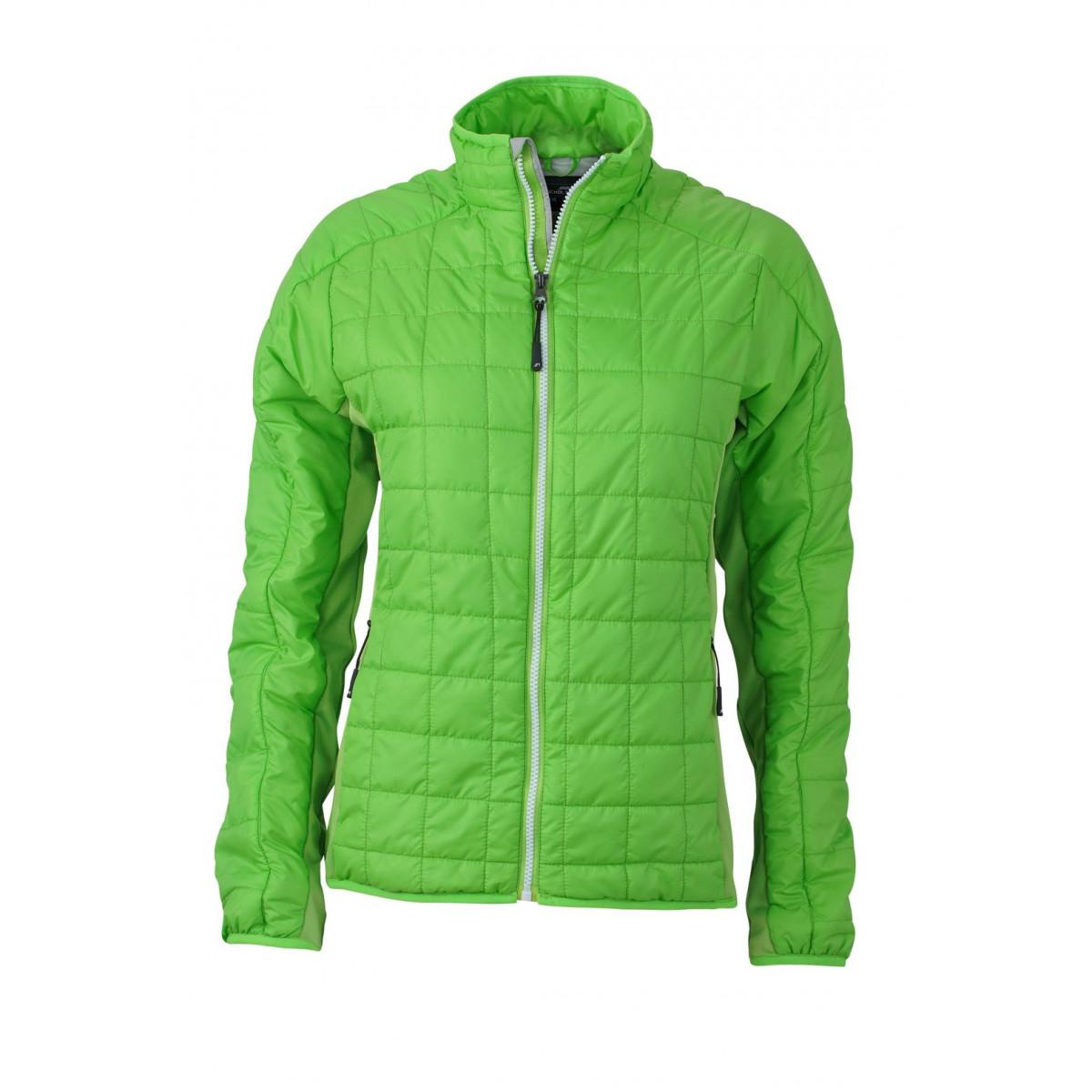Куртка женская JN1115 Ladies Hybrid Jacket - Насыщенный зеленый/Серебряный