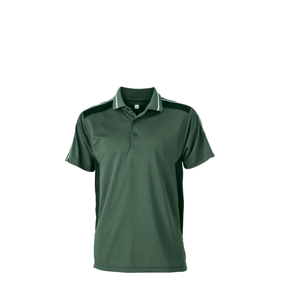 Рубашка поло мужская JN828 Craftsmen Poloshirt - Темно-зеленый/Черный