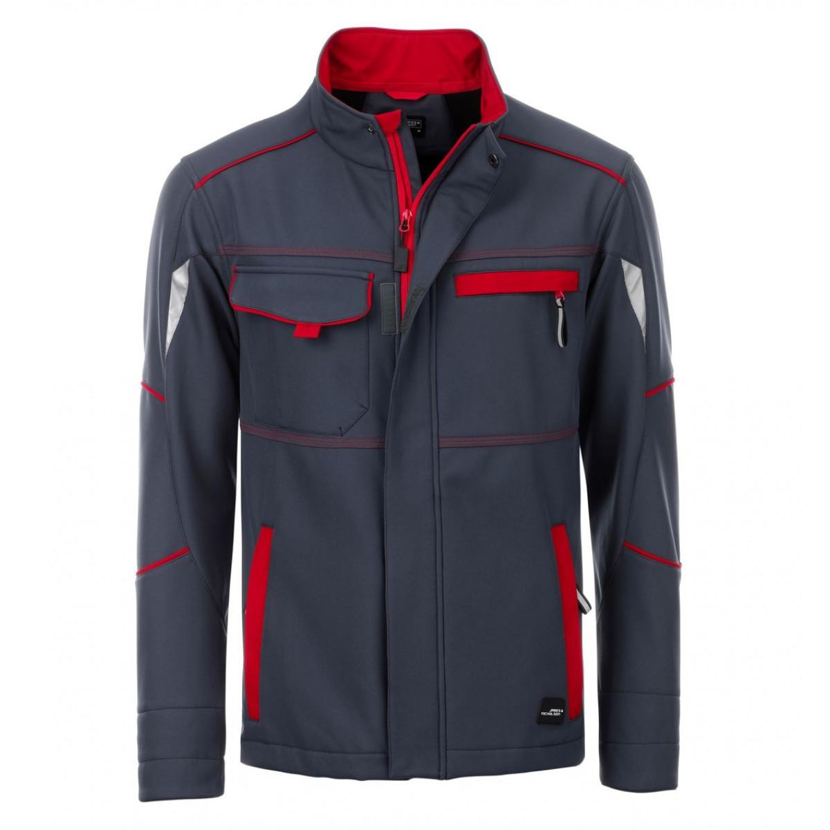 Куртка мужская JN851 Workwear Softshell Jacket-Level 2 - Темно-серый/Красный