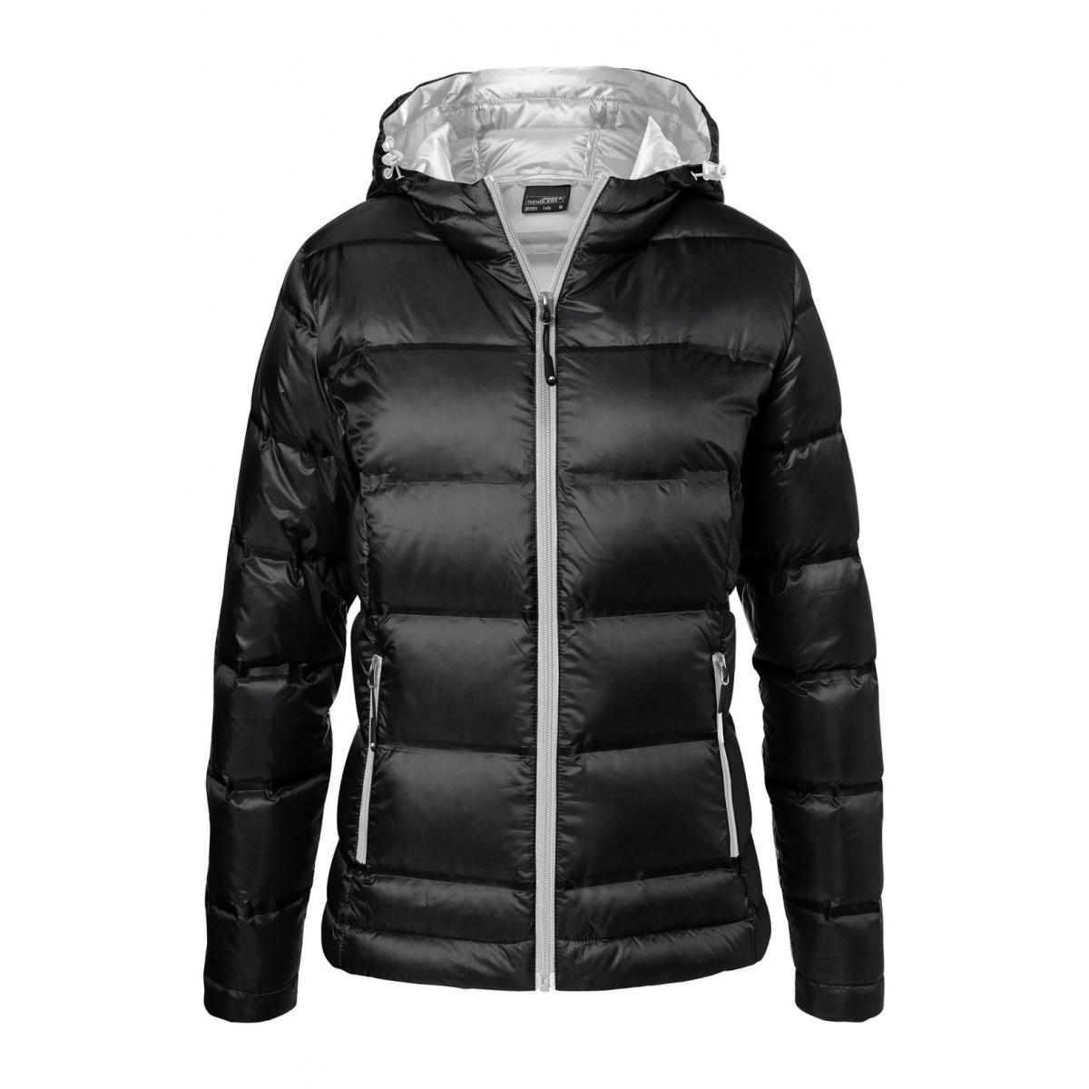 Куртка женская JN1151 Ladies Hooded Down Jacket - Черный/Серебряный
