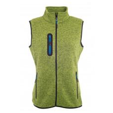 Жилет женский JN773 Ladies' Knitted Fleece Vest - Насыщенный зеленый меланж/Ярко-синий