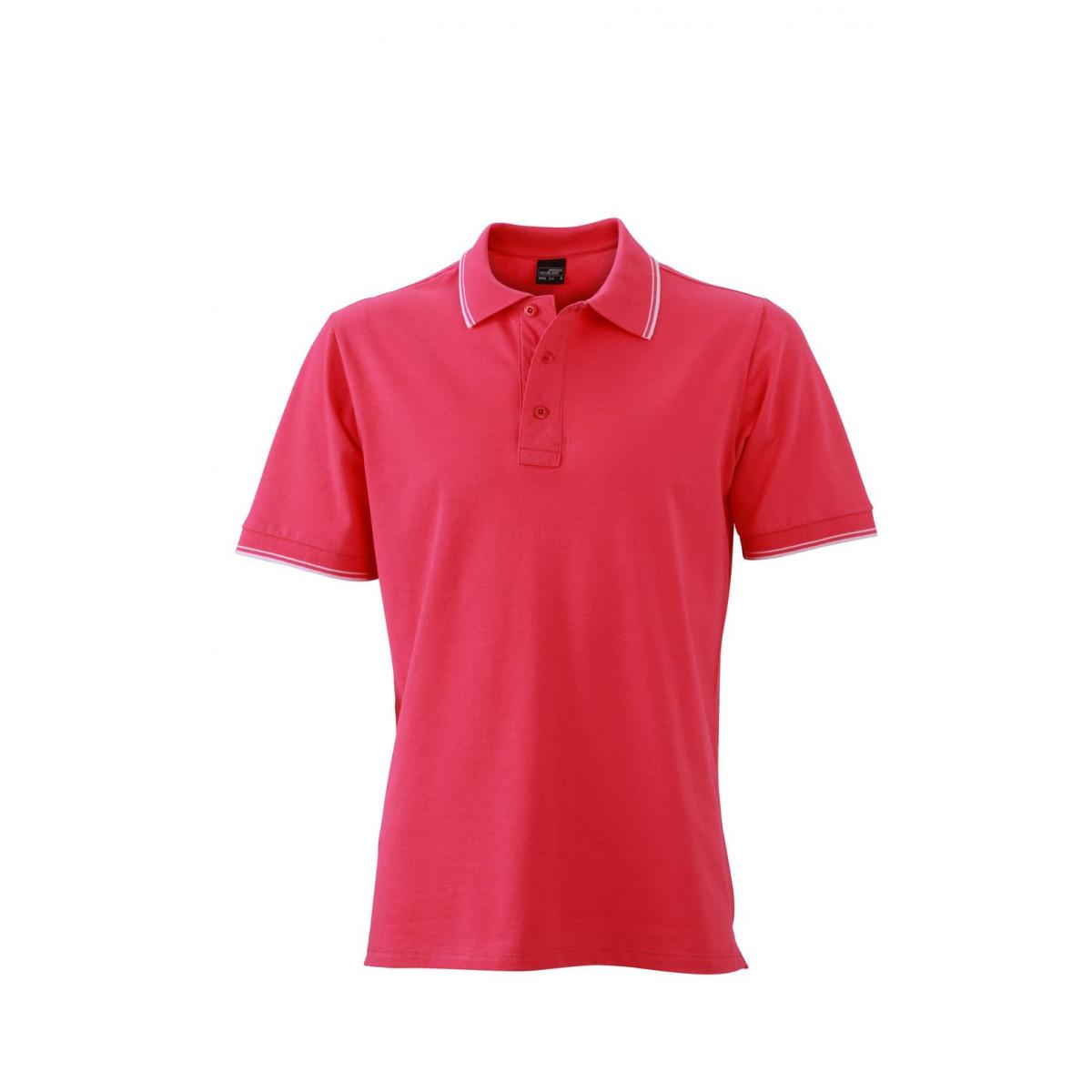 Рубашка поло мужская JN986 Mens Polo - Розовый/Белый