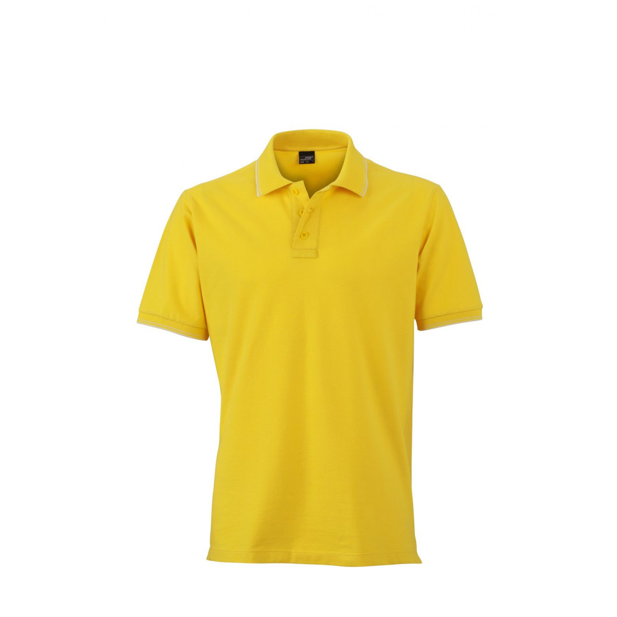 Рубашка поло мужская JN986 Mens Polo - Ярко-желтый/Белый
