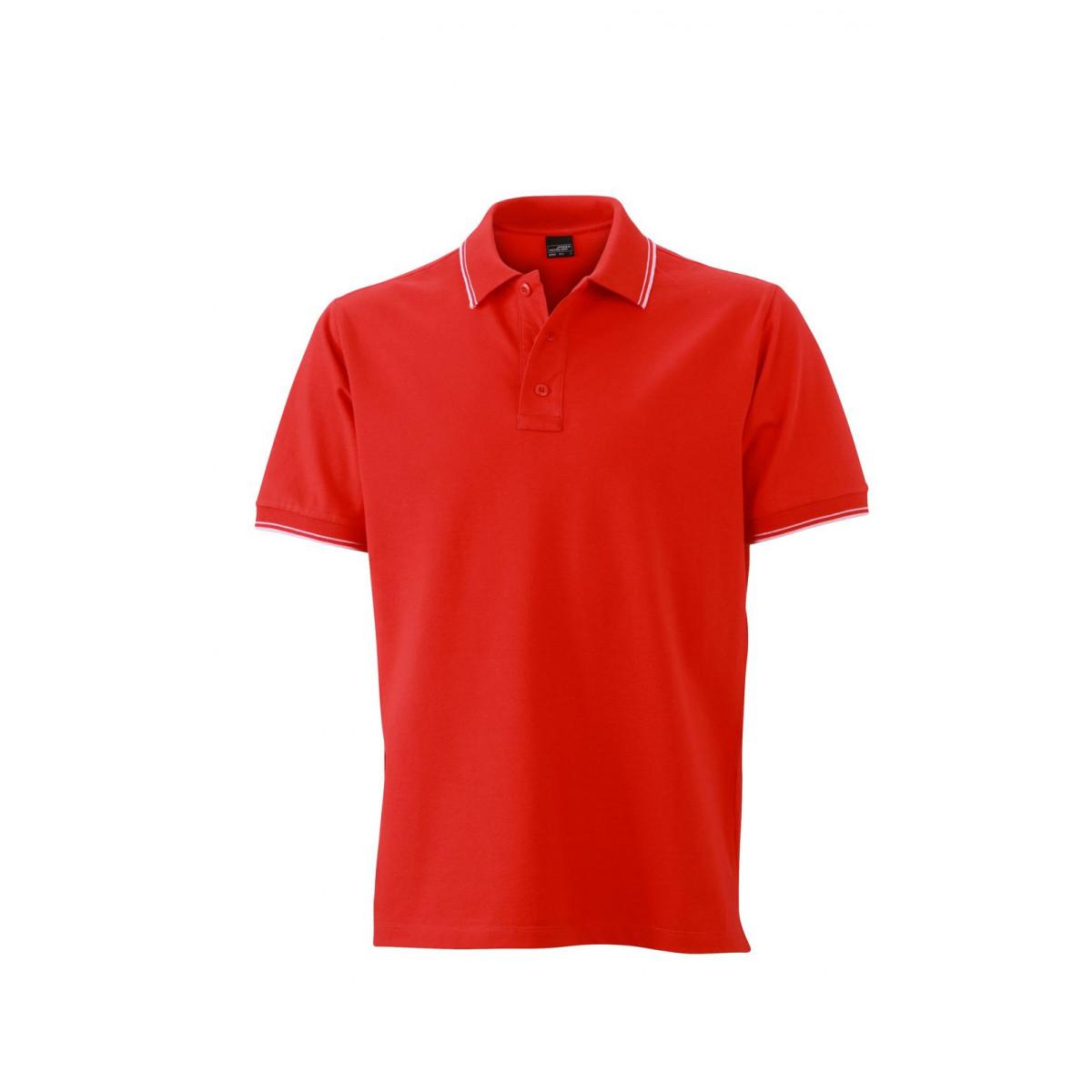 Рубашка поло мужская JN986 Mens Polo - Томатный/Белый