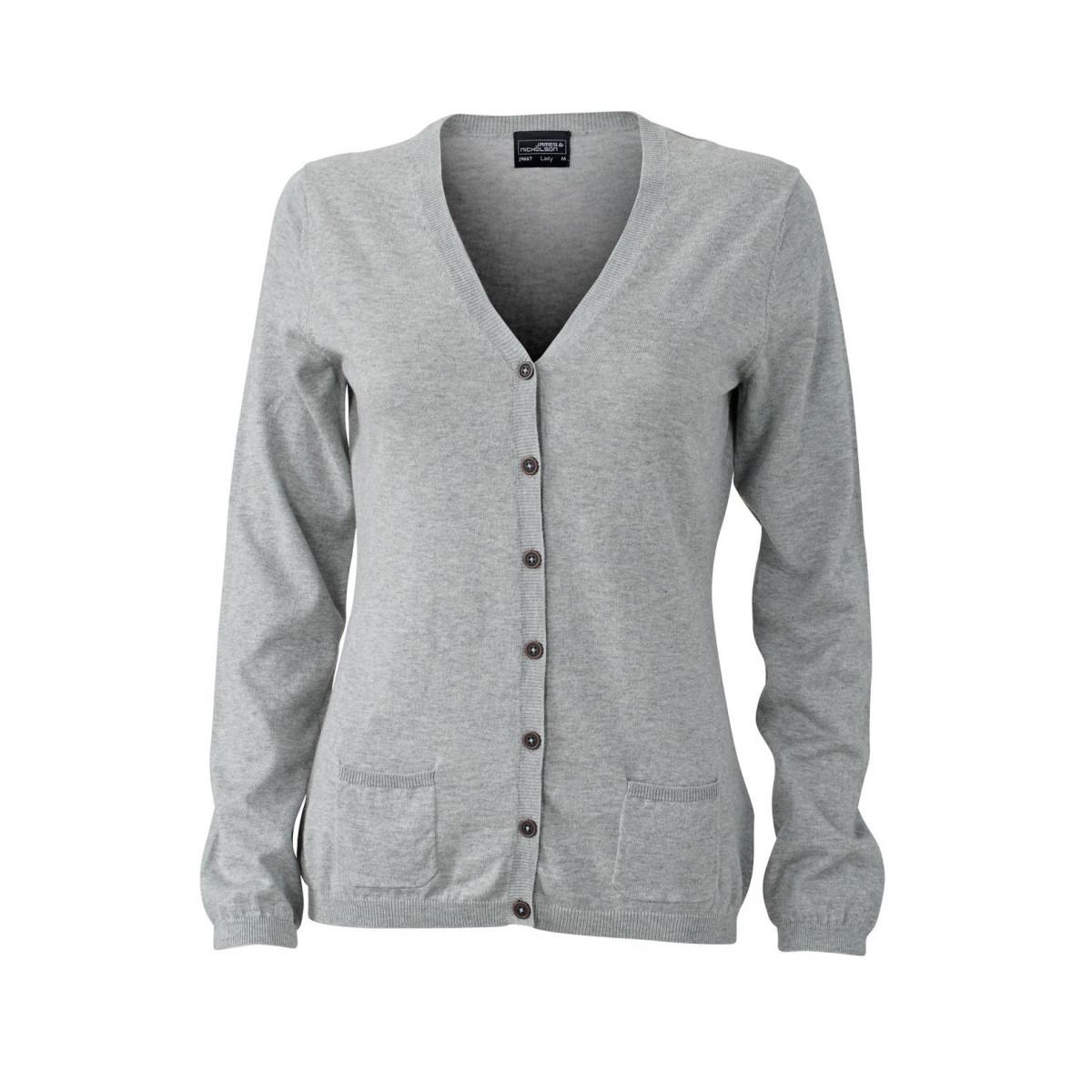 Кардиган женский JN667 Ladies Cardigan - Серый меланж