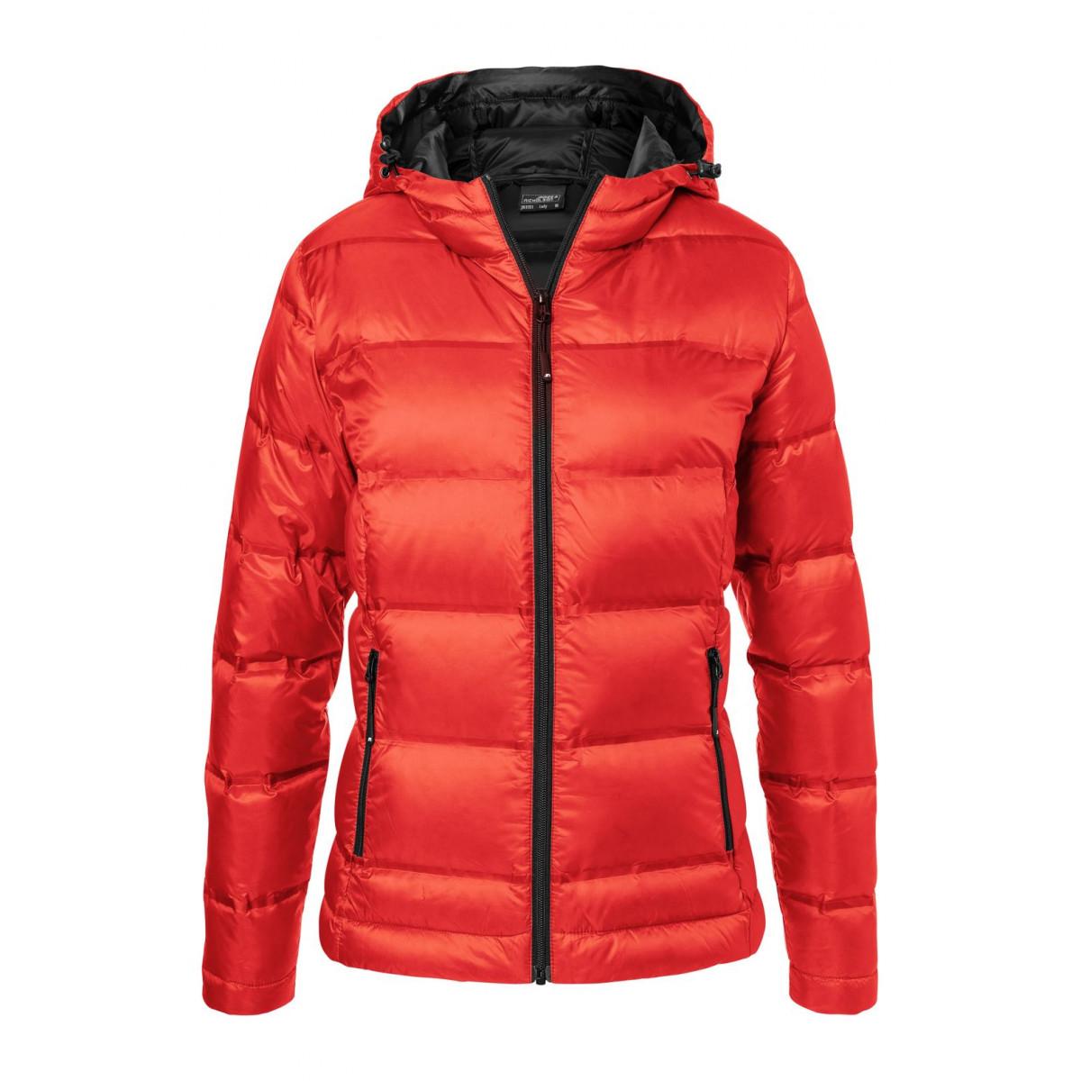 Куртка женская JN1151 Ladies Hooded Down Jacket - Ярко-красный/Черный