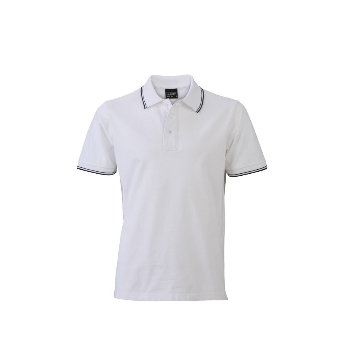 Рубашка поло мужская JN986 Mens Polo - Белый/Темно-синий