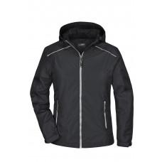 Куртка женская JN1117 Ladies' Rain Jacket - Черный/Серебряный