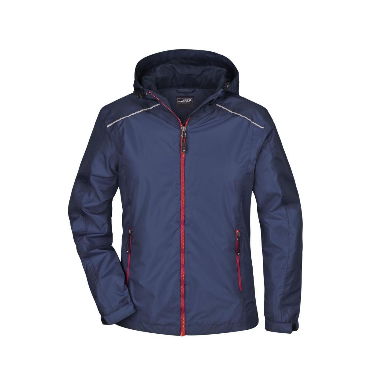 Куртка женская JN1117 Ladies Rain Jacket - Темно-синий/Красный